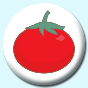 Personalised Badge: 75mm Tomato Button Badge. Create your own custom badge - complete the form and we will create your personalised button badge for you.
