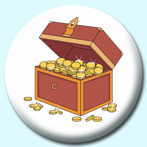 Personalised Badge: 58mm Treasure Chest Button Badge. Create your own custom badge - complete the form and we will create your personalised button badge for you.