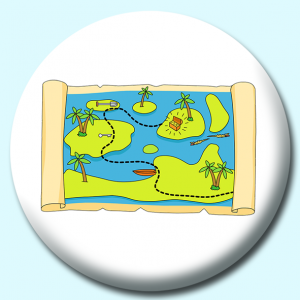 Personalised Badge: 75mm Treasure Map Button Badge. Create your own custom badge - complete the form and we will create your personalised button badge for you.