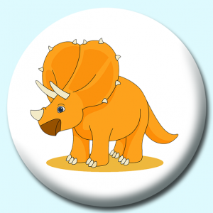Personalised Badge: 75mm Triceratops Button Badge. Create your own custom badge - complete the form and we will create your personalised button badge for you.