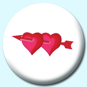 Personalised Badge: 75mm Two Hearts Button Badge. Create your own custom badge - complete the form and we will create your personalised button badge for you.