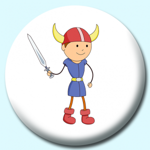 Personalised Badge: 58mm Viking Boy With Helmet Sword Button Badge. Create your own custom badge - complete the form and we will create your personalised button badge for you.