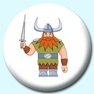 Personalised Badge: 58mm Viking Character Holding A Sword Button Badge. Create your own custom badge - complete the form and we will create your personalised button badge for you.