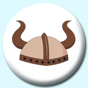 Personalised Badge: 75mm Viking Helmet Button Badge. Create your own custom badge - complete the form and we will create your personalised button badge for you.