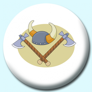 Personalised Badge: 58mm Viking Helmet Battle Axe Button Badge. Create your own custom badge - complete the form and we will create your personalised button badge for you.