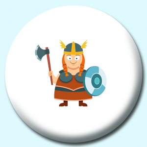 Personalised Badge: 75mm Viking Lady Warrior With Shield And Axe Vikings Button Badge. Create your own custom badge - complete the form and we will create your personalised button badge for you.
