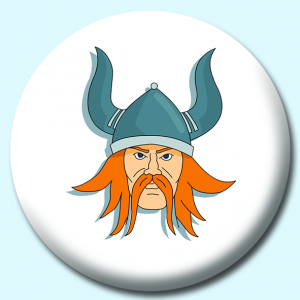 Personalised Badge: 75mm Viking Norseman Face Helmet Button Badge. Create your own custom badge - complete the form and we will create your personalised button badge for you.