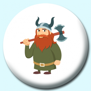 Personalised Badge: 75mm Viking Warrior With Axe Vikings Button Badge. Create your own custom badge - complete the form and we will create your personalised button badge for you.