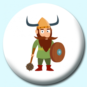 Personalised Badge: 75mm Viking Warrior With Hammer And Shield Vikings Button Badge. Create your own custom badge - complete the form and we will create your personalised button badge for you.