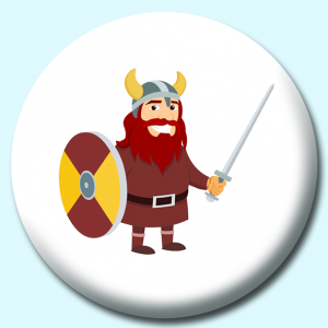 Personalised Badge: 75mm Viking Warrior With Shield And Sword Vikings Button Badge. Create your own custom badge - complete the form and we will create your personalised button badge for you.