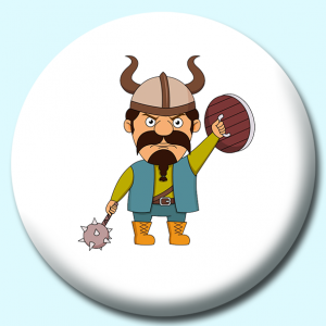 Personalised Badge: 58mm Viking With Spiked Hammer Or Flail And Wooden Shield Button Badge. Create your own custom badge - complete the form and we will create your personalised button badge for you.