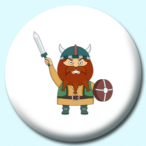 Personalised Badge: 58mm Viking With Sword And Wooden Shield Button Badge. Create your own custom badge - complete the form and we will create your personalised button badge for you.