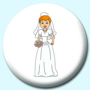 Personalised Badge: 75mm Wedding Bride Button Badge. Create your own custom badge - complete the form and we will create your personalised button badge for you.