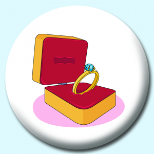 Personalised Badge: 38mm Wedding Ring Button Badge. Create your own custom badge - complete the form and we will create your personalised button badge for you.
