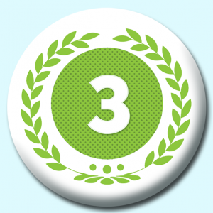 Personalised Badge: 75mm Wreath Number 3 Button Badge. Create your own custom badge - complete the form and we will create your personalised button badge for you.