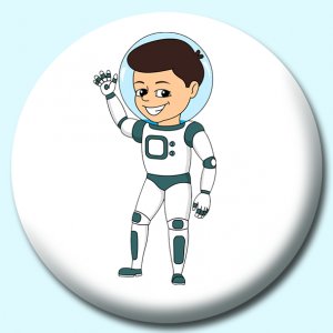 Personalised Badge: 75mm Young Astronaut Button Badge. Create your own custom badge - complete the form and we will create your personalised button badge for you.